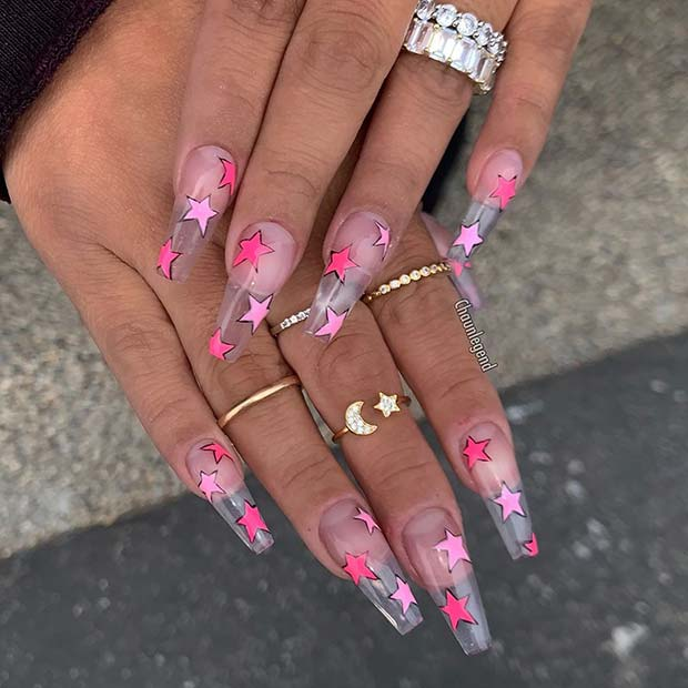 Clear Jelly Nails with Stars