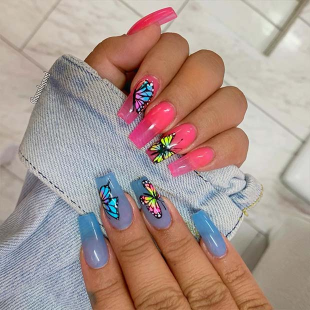 Colorful Butterfly Jelly Nails