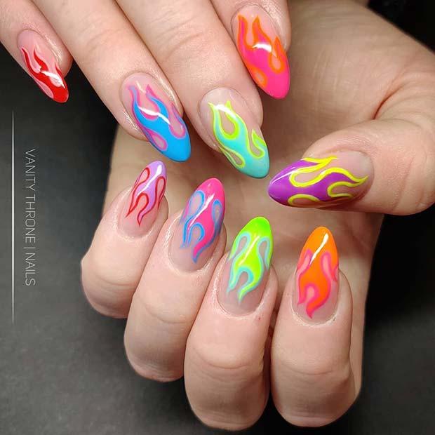Colorful Flame Nail Art
