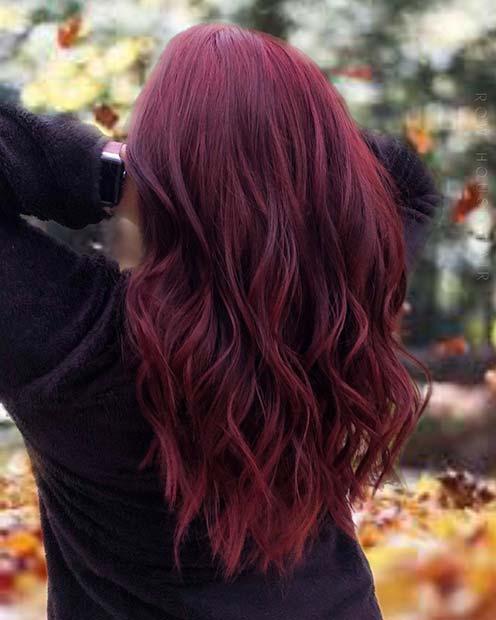 Dark Red Hair with Purple Tones