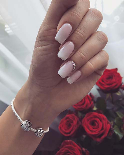Elegant Wedding Mani with Subtle Sparkle