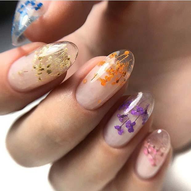 Floral Jelly Nail Idea
