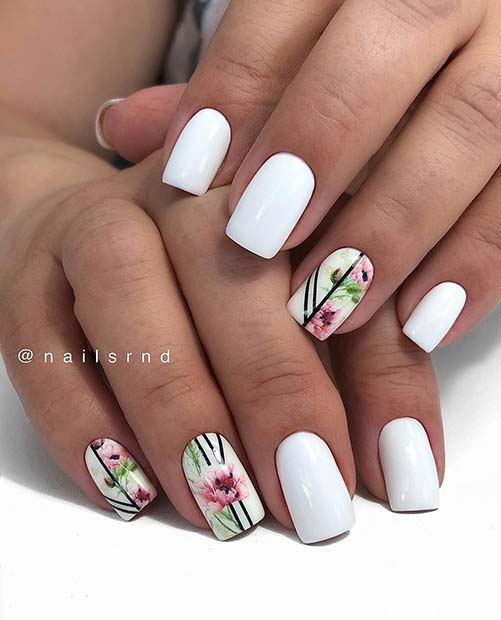 White Floral Nail Idea