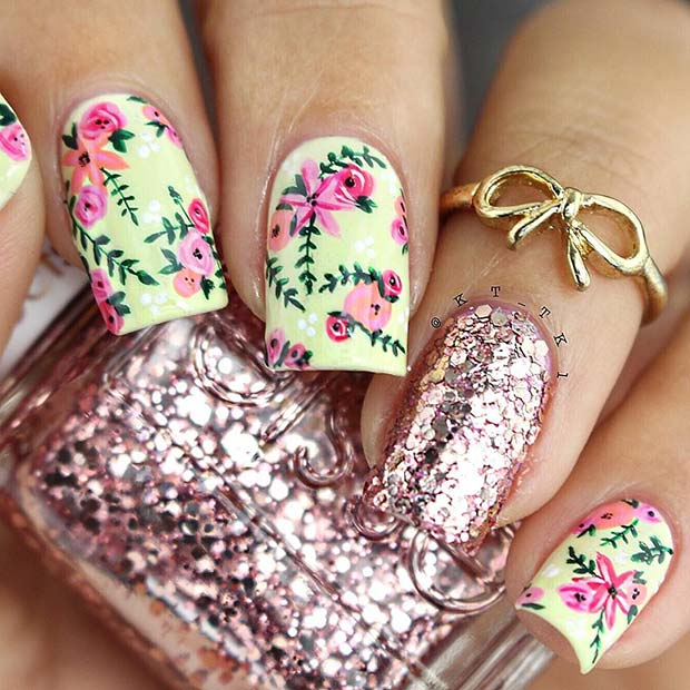 Flower Nail Design with Glitter