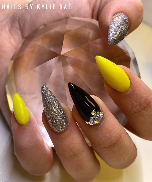 Glam Neon Yellow Nail Design