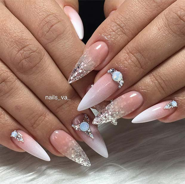 Glam Stiletto Nails for a Wedding