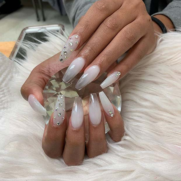 Glam White Nail Design