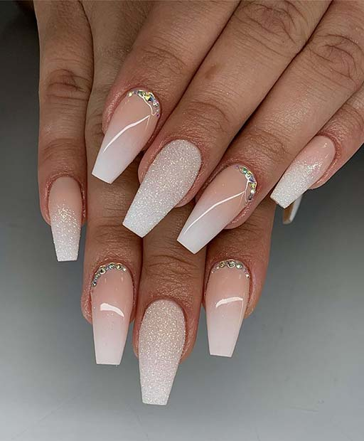 Soft White Nail Design for Brides