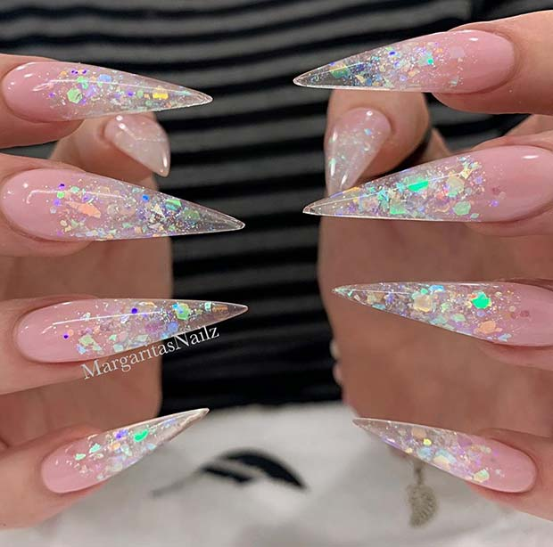 Glittery Ombre Stiletto Nails