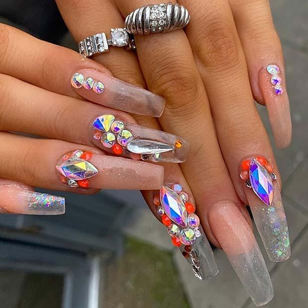 Glitzy Long Jelly Nails