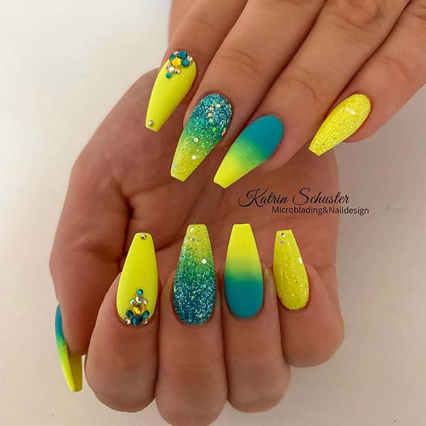 Glitzy Neon Yellow and Blue Nails