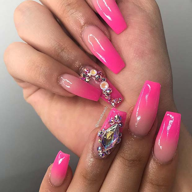 Ombre Pink Nails with Rhinestones