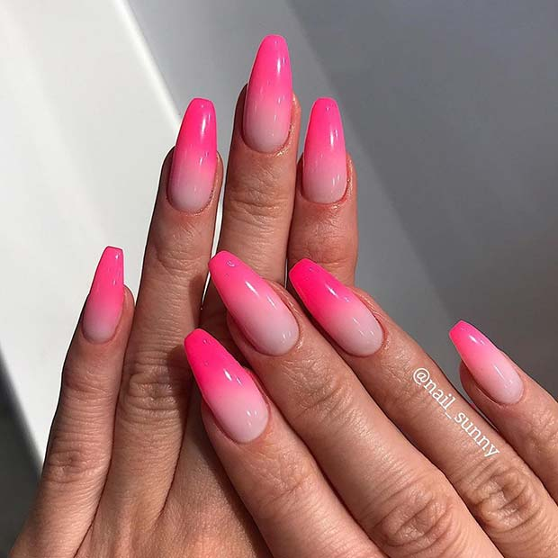Gorgeous Pink Ombre Nails