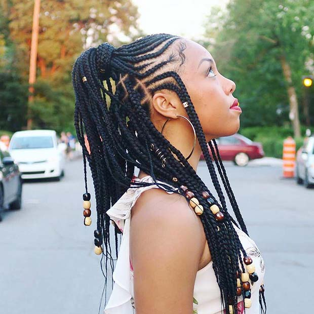 Half Up Hairstyle with Beads