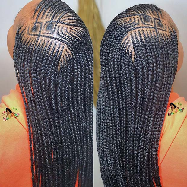 Long African Feed in Braids