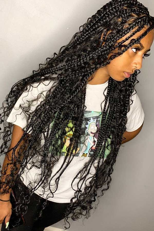 Long Box Braids with Lots of Curls