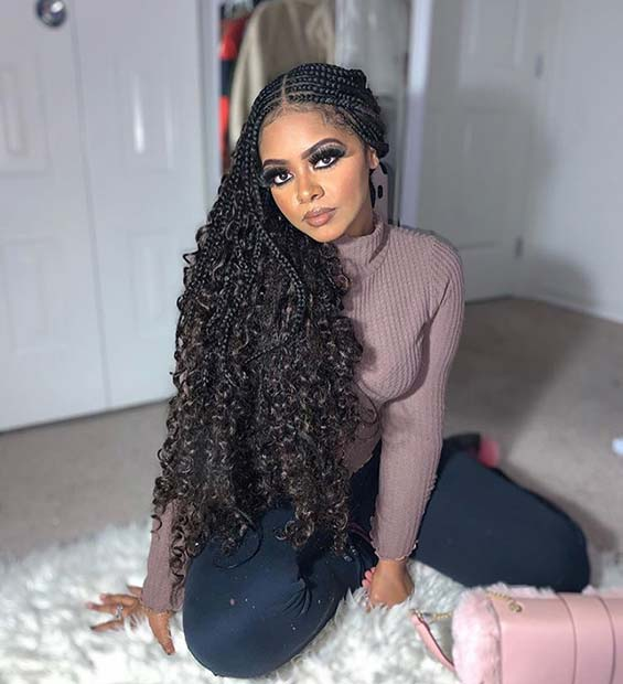 Stunning Feed in Braids with Curly Hair