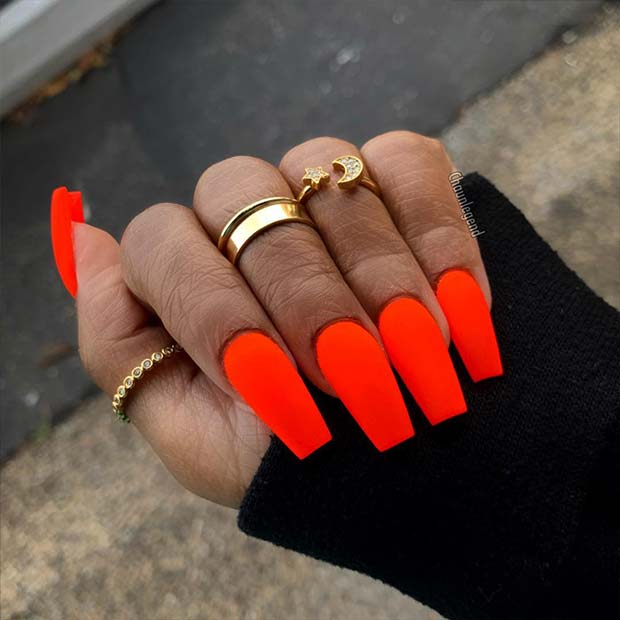Matte Neon Orange Nail Art Design
