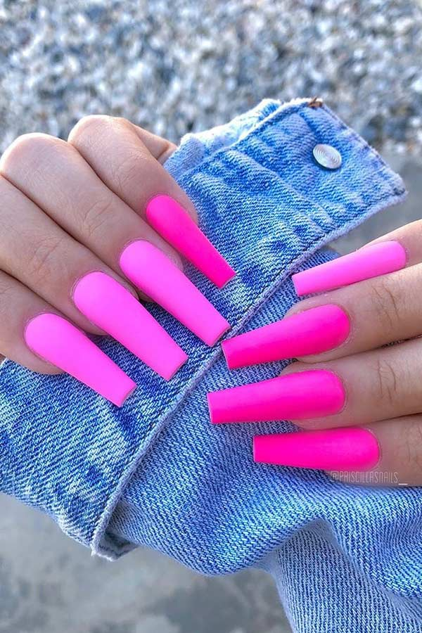 Matte Neon Pink Coffin Nails