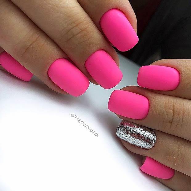 Matte Neon Pink Short Nails