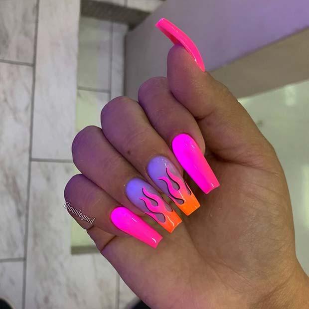 Neon Pink Nail Flames