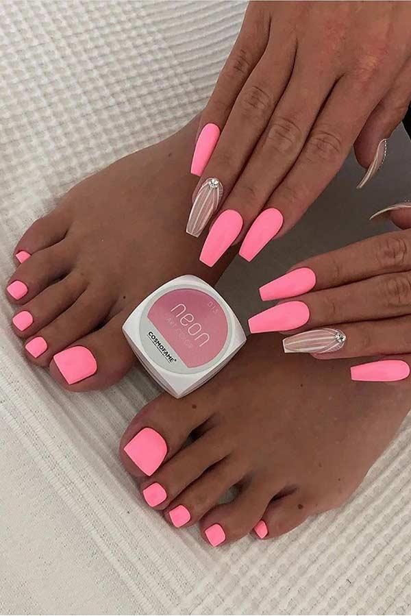 Neon Light Pink Mani and Pedi