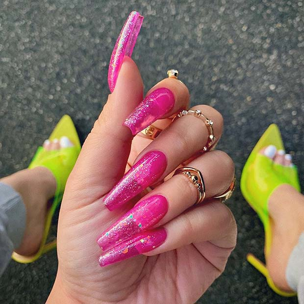 Neon Pink Jelly Nails