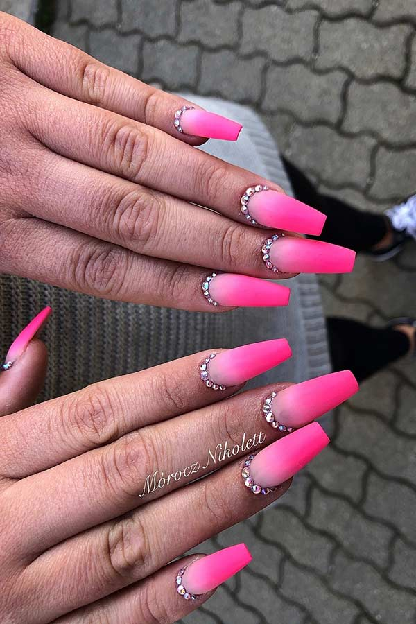 Neon Pink Ombre Nails with Rhinestones