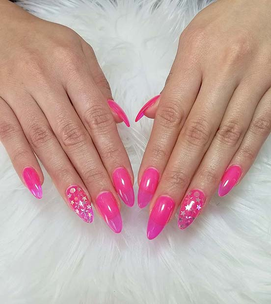 Neon Pink and Star Nails