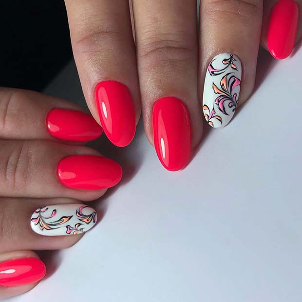 Neon Pink with White Accent Nails