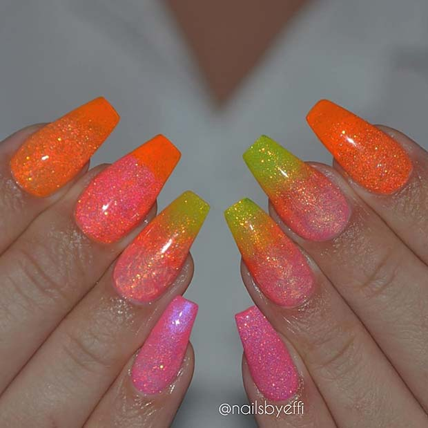 Sparkly Neon Short Coffin Nails