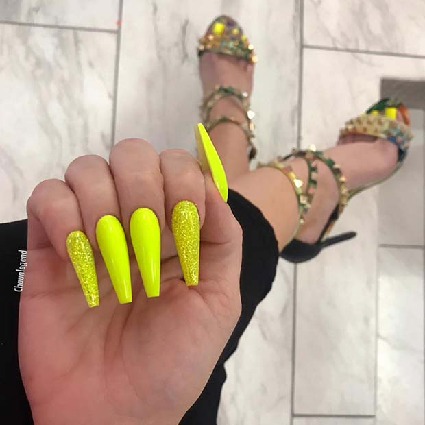 Neon Yellow and Glitter Nail Design
