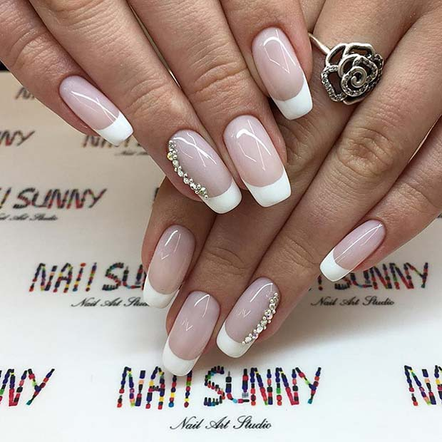 Neutral Nails with White Tips