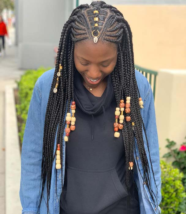 Tribal Braids with Beads and Hair Rings