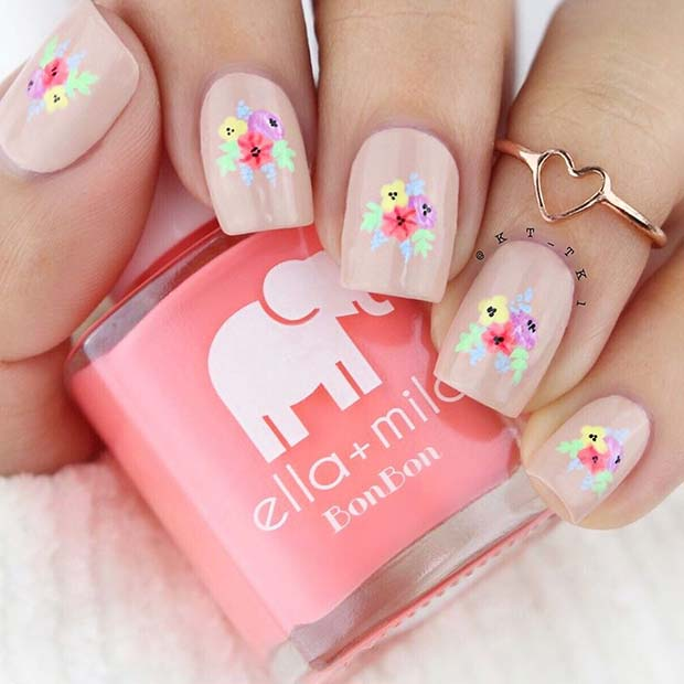 Nude Nails with Colorful Flowers