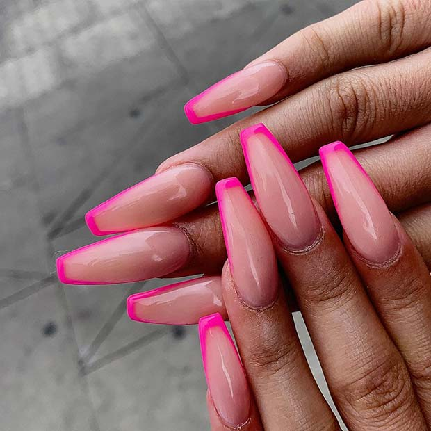 Nude Nails with Neon Tips