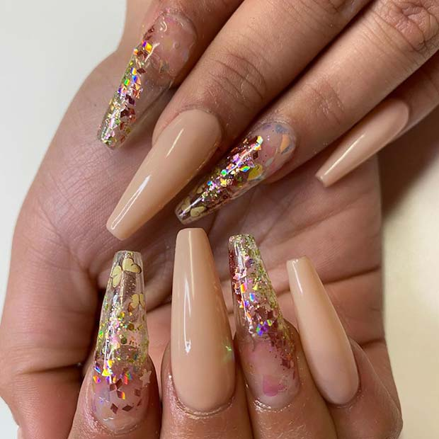 Nude Nails with Sparkle and Butterflies