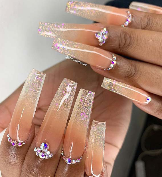 Long Ombre Nails with Rhinestones