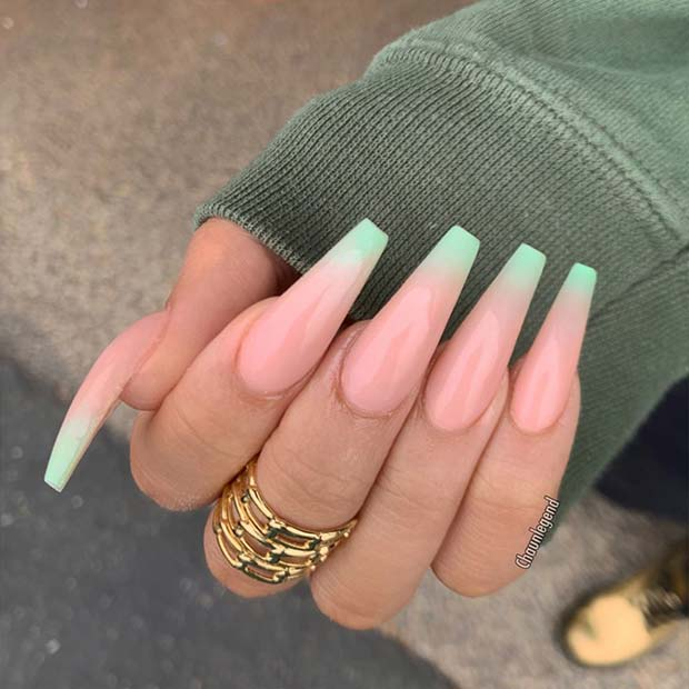 Nude and Mint Green Ombre Nails