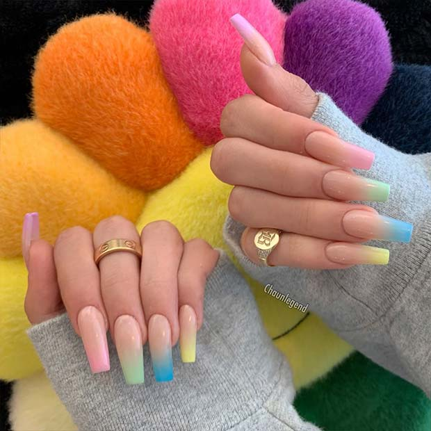 Nude and Pastel Nail Design