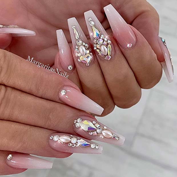 Nude and White Ombre Nails with Rhinestones