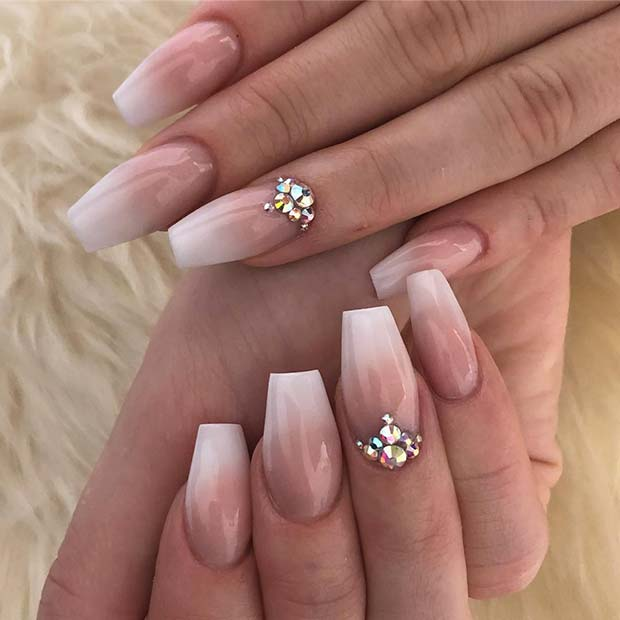 Ombre Nails with An Elegant Accent Nail