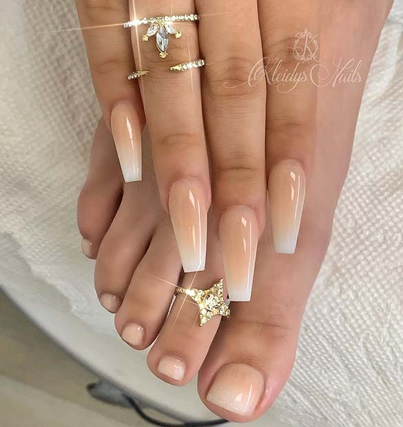 Ombre Wedding Mani Pedi