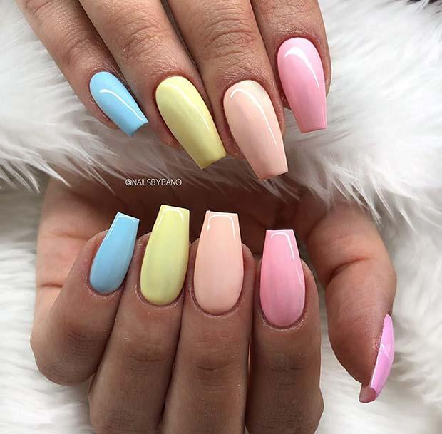Colorful Pastel Nails