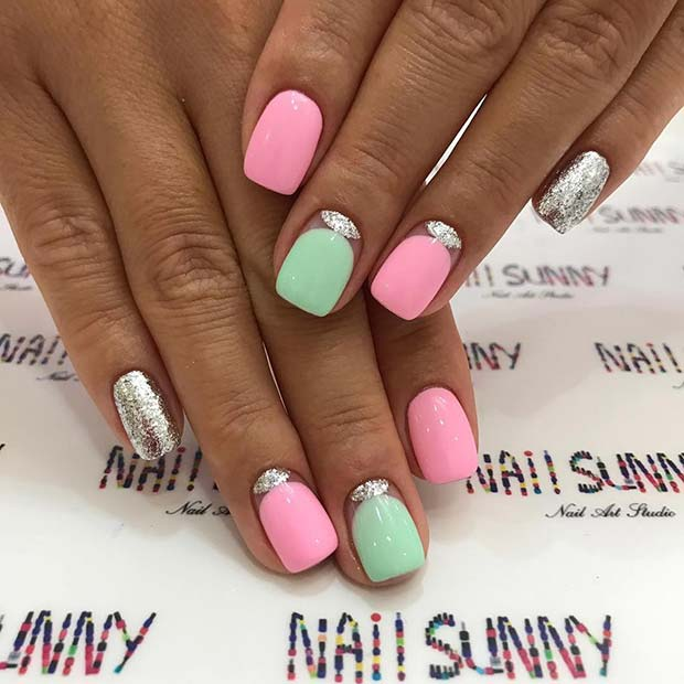 Pastel Nails with a Silver Design