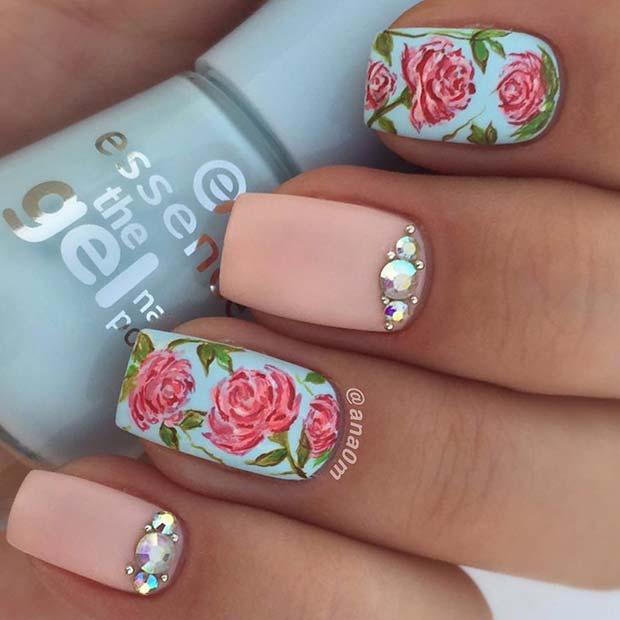 Floral Nail Design for Short Nails