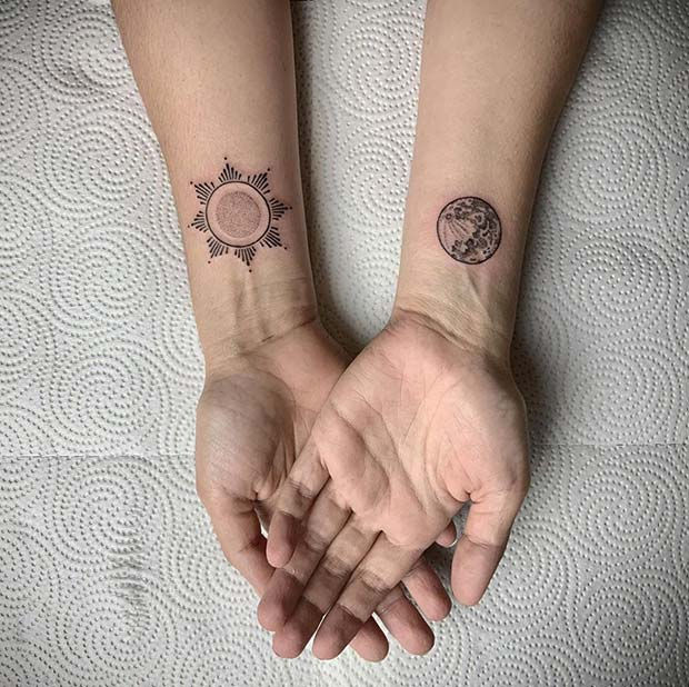 Patterned Sun and Realistic Moon