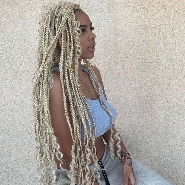 Platinum Blonde Braids and Curls