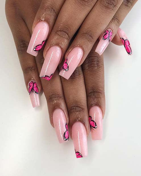 Pretty Pink Nails with Butterflies