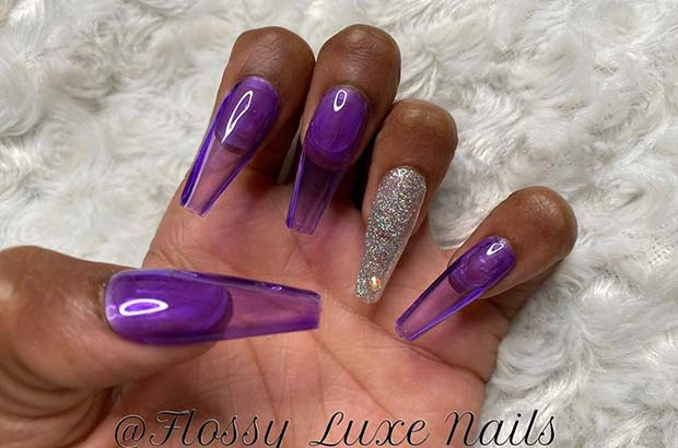 Purple Jelly Coffin Nails